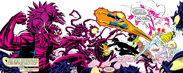 New Mutants (Marvel Comics) classic era - fighting S'ym and his demon army
