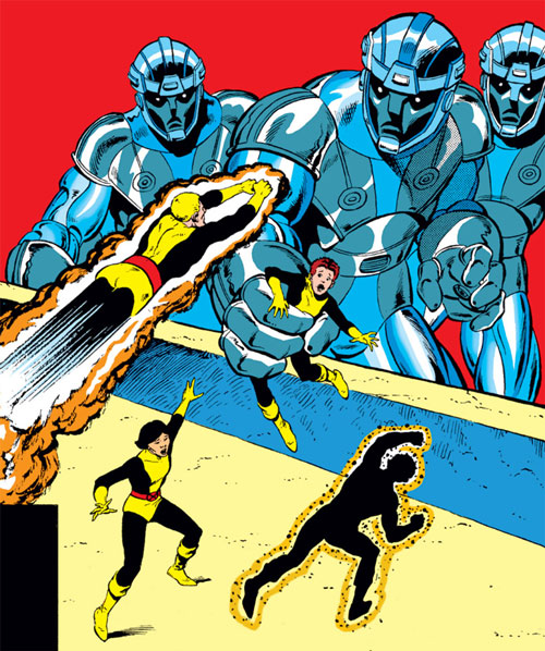 New Mutants (Marvel Comics) (Team profile #1) - fighting Sentinels
