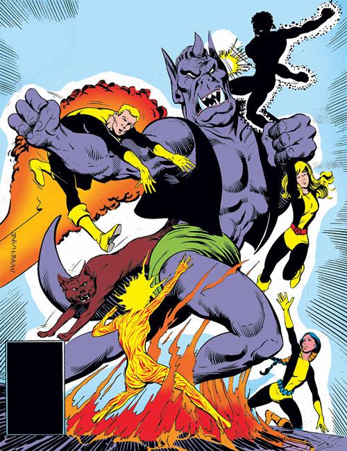 New Mutants (Marvel Comics) (Team profile #1) - group fighting S'Ym
