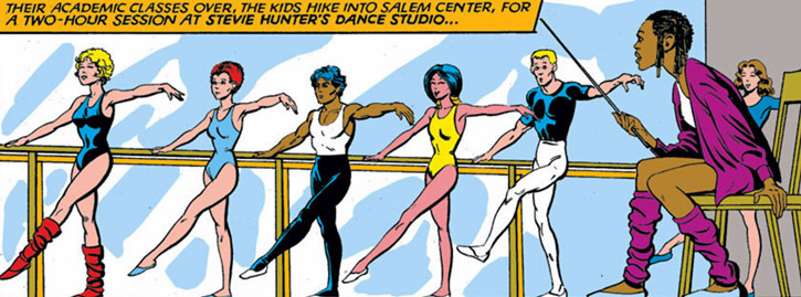 New Mutants (Marvel Comics) (Team profile #1) - dancing lessons with Stevie Hunter
