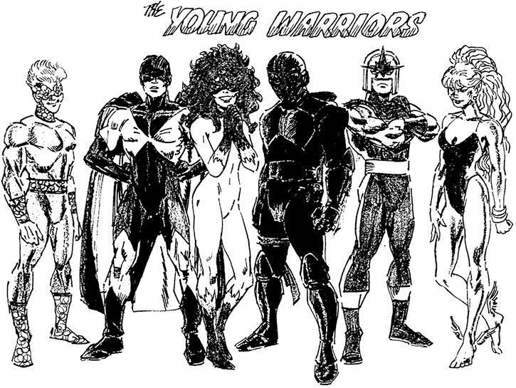 new Warriors (Marvel Comics) early concept art as the Young Warriors - Ron Frenz