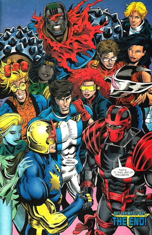 New Warriors team profile #3 - Marvel Comics - group shot, shaking hands