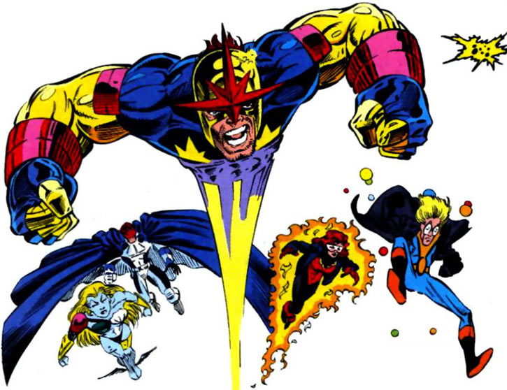 New Warriors team profile #3 - Marvel Comics - Team charging led by Nova