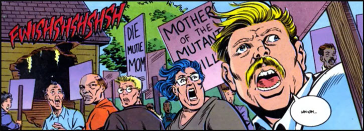 New Warriors team profile #3 - Marvel Comics - Anti-mutants protest