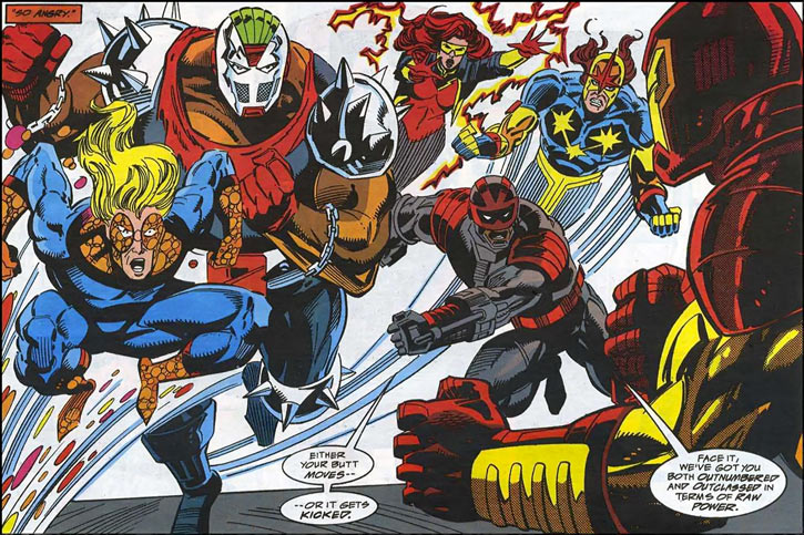New Warriors team profile #3 - Marvel Comics - Attacking Iron Man