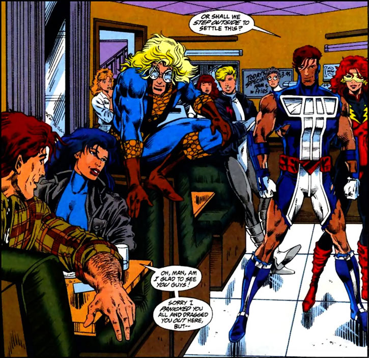 New Warriors team profile #3 - Marvel Comics - team in a diner