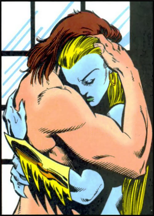 New Warriors team profile #3 - Marvel Comics - Kymaera and Nova hugging