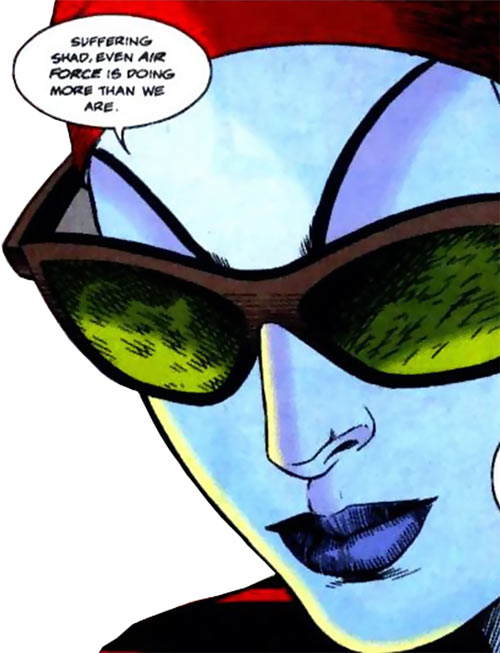 New Warriors team profile #3 - Marvel Comics - Kymaera face closeup shades