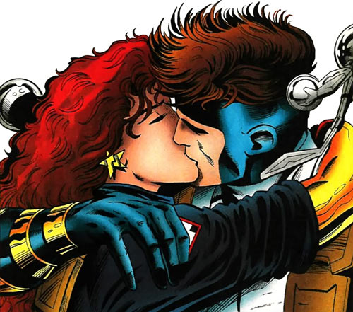 New Warriors team profile #3 - Marvel Comics - Firestar and Justice kissing