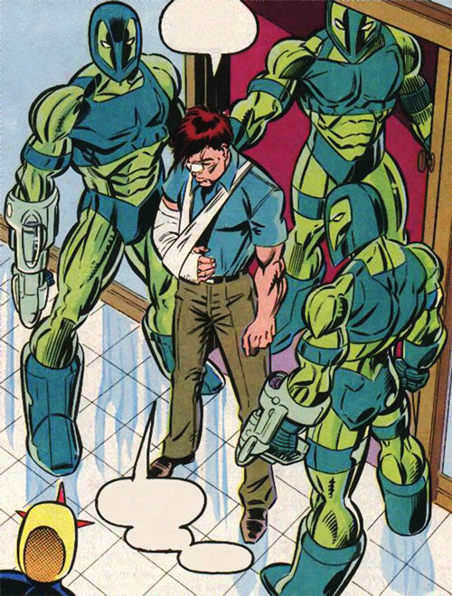 New Warriors (Marvel Comics) (Team Profile #2) Vance Astrovik arrested by Guardsmen
