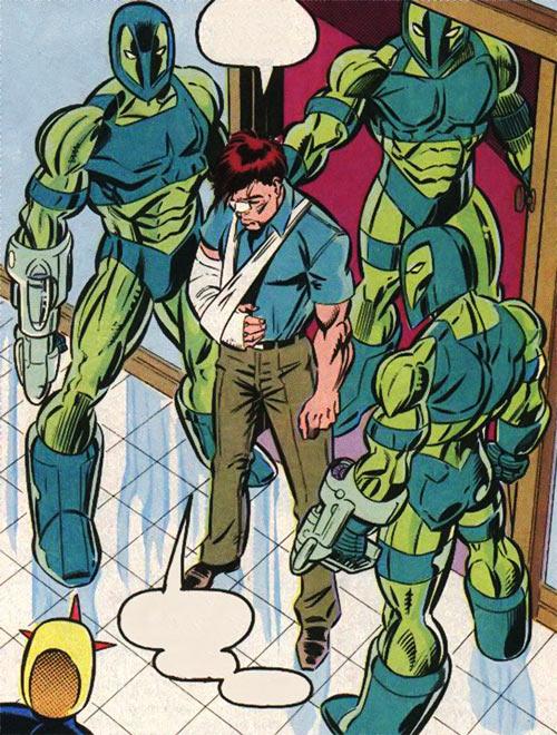 New Warriors (Marvel Comics) (Team Profile #2) Vance Astrovik arrested by Guardsmen