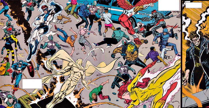 New Warriors - Marvel Comics - Team - In a riot with the Avengers, courtesy of the Hatemonger