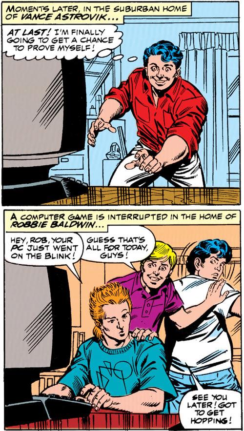 New Warriors - Marvel Comics - Earliest - Marvel Boy and Speedball in civvies