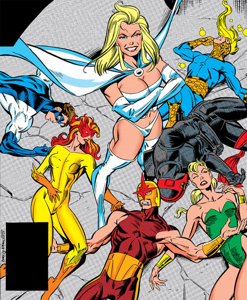 The New Warriors (Marvel Comics) defeated by the White Queen