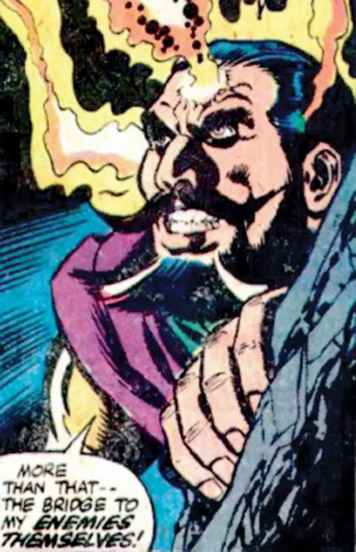 Nicholas Scratch (Marvel Comics) with magic fire spurting from his head