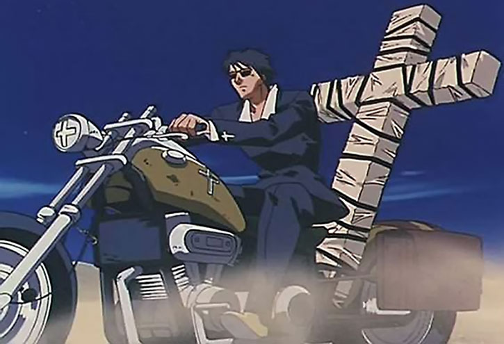 Nicholas Wolfwood rides his bike with his packed cross