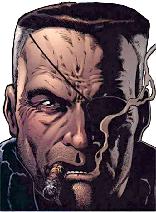 Nick Fury (Marvel Comics) face closeup