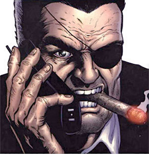 Nick Fury (Marvel Comics) yelling on the phone with a cigar