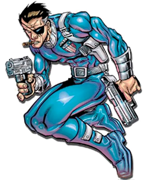 Nick Fury (Marvel Comics) dual-wielding pistols
