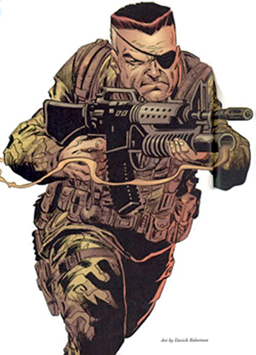 Nick Fury (Marvel Comics) with a US uniform and M16