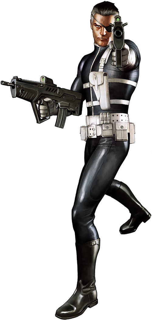Nick Fury (Marvel Comics) with high-tech firearms