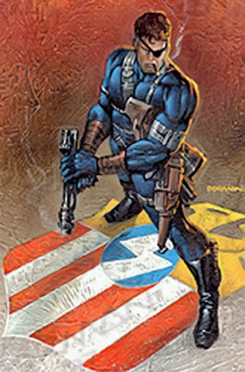 Nick Fury (Marvel Comics) standing on a SHIELD logo