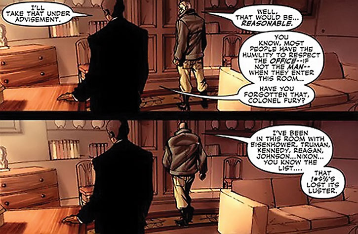 Nick Fury in the Oval Office of the White House