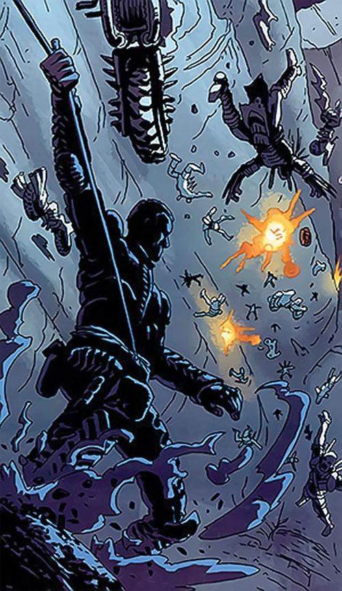 Horde of mutant bikers falling to their death (Dead Run comics)