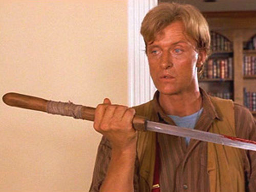 Nick Parker (Rutger Hauer in the movie Blind Fury) with his sword
