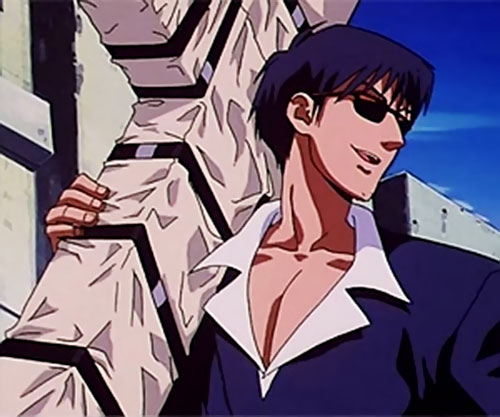 Nicolas Wolfwood (Trigun) carrying his cross and wearing shades