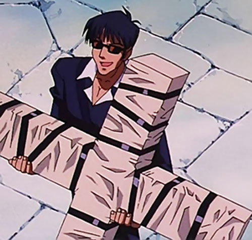 Nicolas Wolfwood (Trigun) carrying his wrapped cross