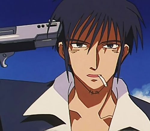 Nicolas Wolfwood (Trigun) with a pistol pointed to his head