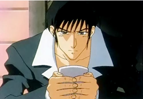Nicolas Wolfwood (Trigun) with a hot drink