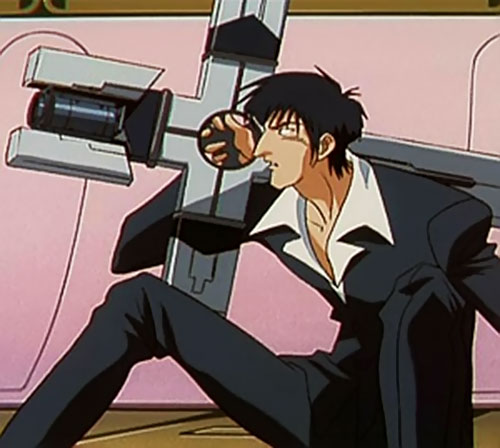 Nicolas Wolfwood (Trigun) aiming his cross