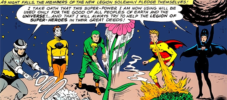 Night Girl (Lydda Jath) and the Legion of Substitute Heroes take their oath