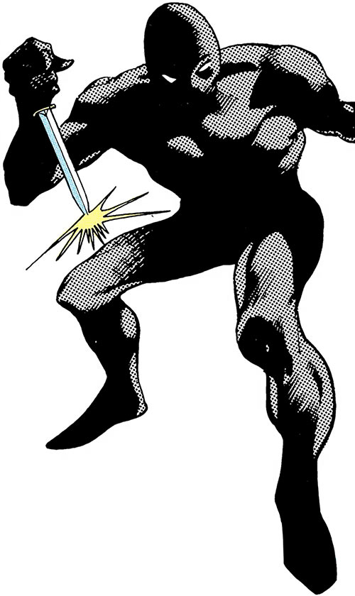 Night-Slayer (DC Comics) (Batman enemy) with a dagger over a white background