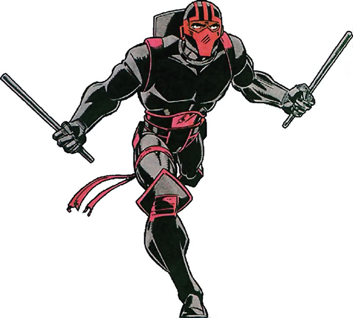 Night Thrasher (Dwayne Taylor) running with fighting sticks at the ready