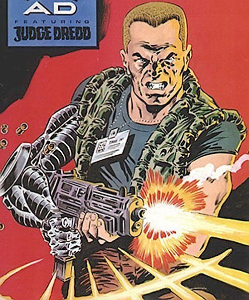 Night Zero (Tanner) (2000AD comics) shooting a submachinegun