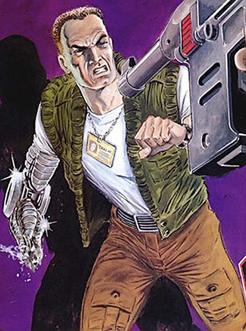 Night Zero (Tanner) (2000AD comics) with his bionic hand destroyed