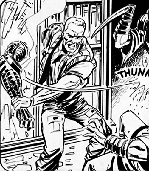 Night Zero (Tanner) (2000AD comics) uses his bionic arm as a club