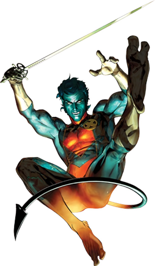 Nightcrawler of the X-Men leaping in with a rapier