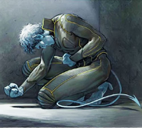 Nightcrawler of the X-Men imprisoned, wearing a black leather jumpsuit