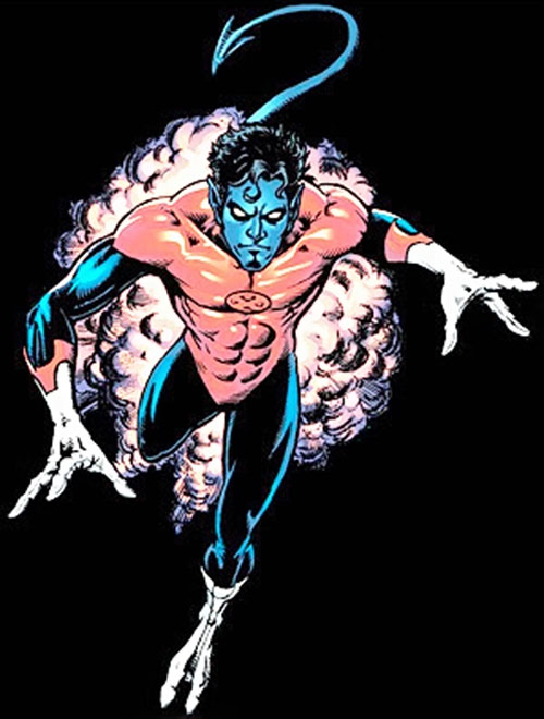 Nightcrawler (Marvel Comics) bamfing over a black background