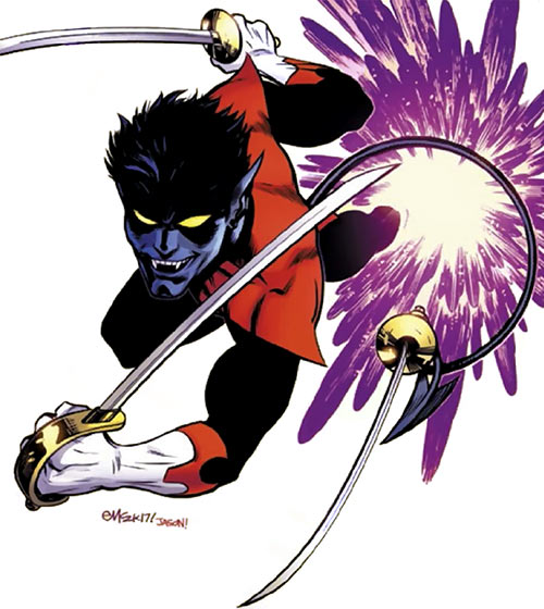 Nightcrawler - Marvel Comics - Teleports in with triple sabres - Ed McGuiness cover