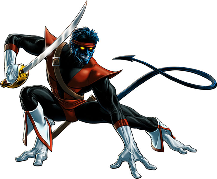 Nightcrawler (Kurt Wagner) posing with pirate sword and headband