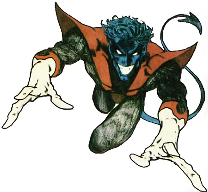 Nightcrawler (Kurt Wagner) jumping and grinning in a demonic manner