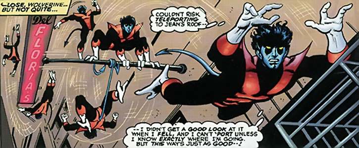 Nightcrawler (Kurt Wagner) doing urban acrobatics