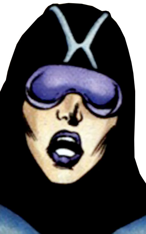 Nightfall of the Cadre (JLA enemy) (DC Comics) face closeup