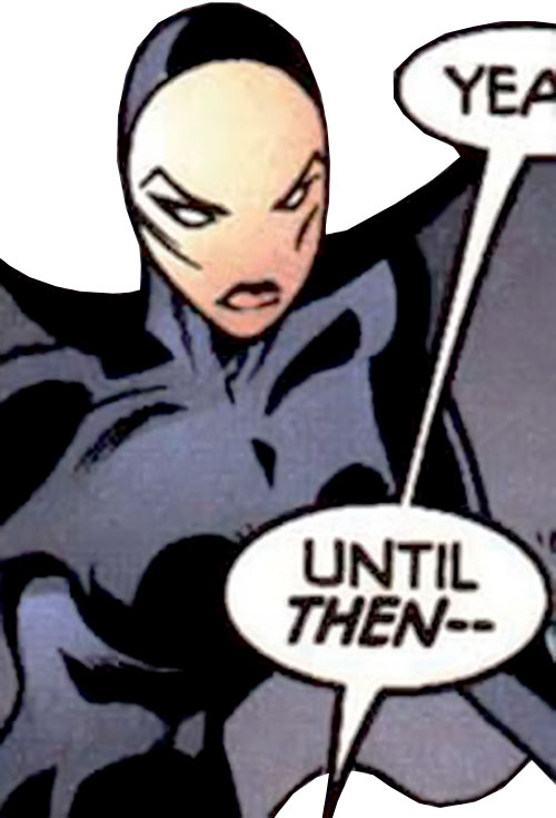 Nightfall of the Cadre (JLA enemy) (DC Comics) with the black costume and smooth mask