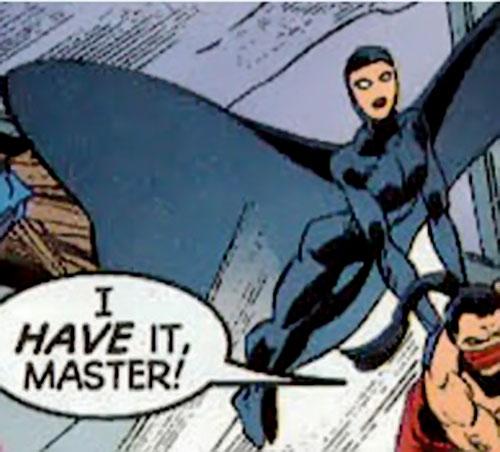 Nightfall of the Cadre (JLA enemy) (DC Comics) carrying Shatterfist